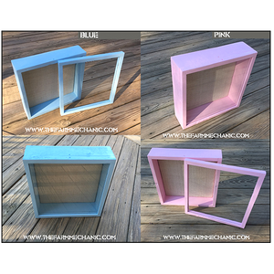"Baby Shadow Box - Artisan Rustic -12""W x 12""H x 3""D Blue/Pink"