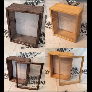 """Shadow Box - Artisan Rustic -12""""W x 12""""H x 5""""D Espresso/Gold"""