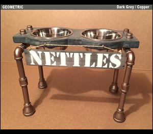 Rustic Raised Dog Feeding Station with Refined Black Pipe Legs -Medium / Tall