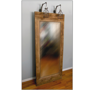 Artisan Industrial Rustic Leaning Mirror with Hanging Lights