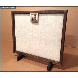 Wedding Drop Shadow Box - Artisan Rustic with Display Feet and Custom Hand Carved Initials Plaque