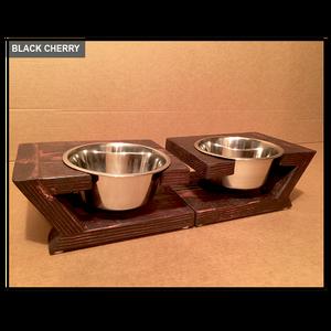 Raised Dog Feeding Station – Rustic Modern - Medium