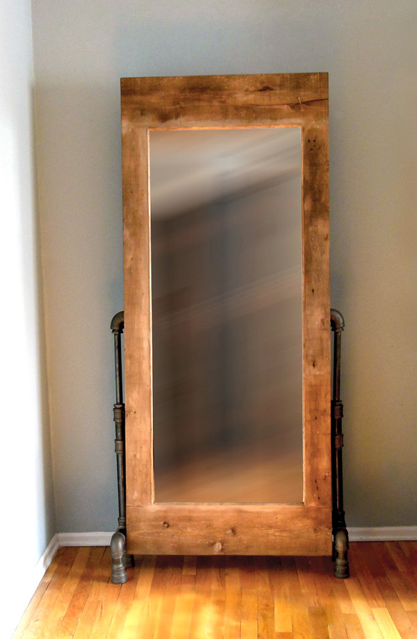 Artisan Industrial Rustic Mirror with Black Pipe Legs