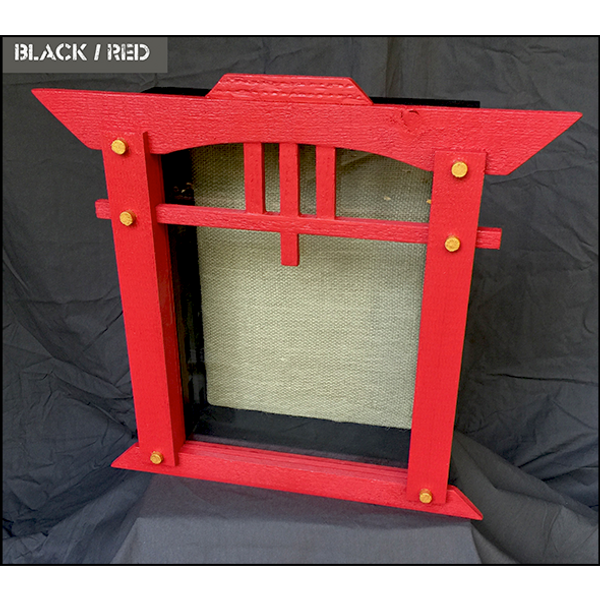 """Shadow Box - Artisan Rustic """"House of Zen"""" - 11"""" W x 15"""" H x 5"""" D - Red and Black"""