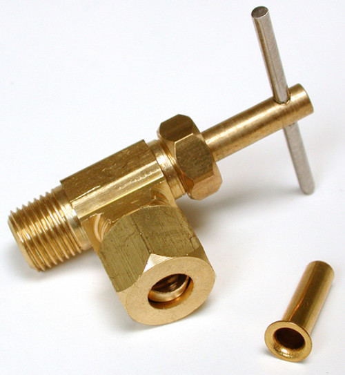 "1/4"" Compression Brass Angle Needle Valve 1/8"" MPT 94395"