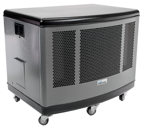 Mobile aerocool evaporative cooler silver finish mac5100 for Motor cooler on wheels