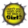 How tough are you?  Show how much you like to slam that softball with this humorous magnet!