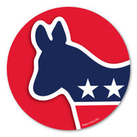 The Democratic Donkey is associated with Andrew Jackson's presidential campaign in 1828.  His opponents called him a jackass (donkey) because he was strong-willed. He found it to be hilarious so he decided to use it on his campaign posters.  He went on to win the election and became America's first Democratic president. In the 1870's, Thomas Nast (political cartoonist) helped the donkey to become the symbol for the Democratic Party. During election season, our Democratic Donkey Circle Magnet is a great way to show your support for the Democratic party!