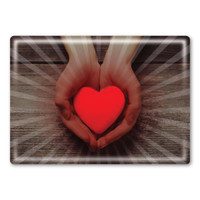 Hands Holding Heart Rectangle Button