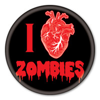 I Love Zombies (black) Circle Button