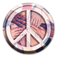 Peace Sign on Hands Circle Button