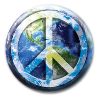 Peace Sign on Earth Circle Button