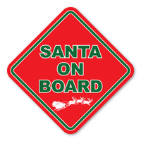 Santa on Board Red Diamond Magnet