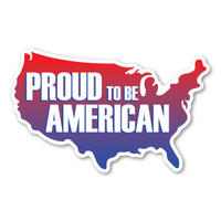Proud to be American United States Shaped Decal