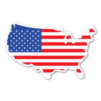 United States Shaped American Flag Mini Decal