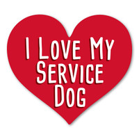 I Love My Service Dog Red Heart Magnet