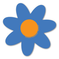 Blue and Orange Flower Magnet