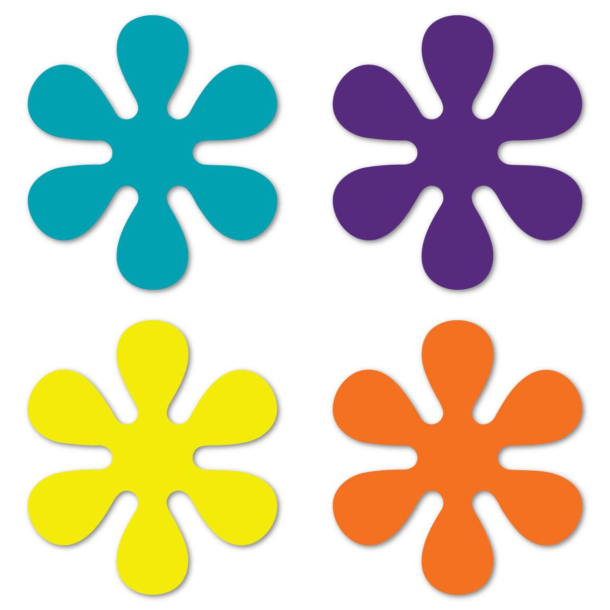 Set Of 4 70 S Flower Pack Purple Yellow Orange Amp Aqua