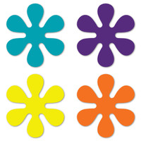 Set of 4 70's Flower Pack (Purple, Yellow, Orange, & Aqua) Magnet