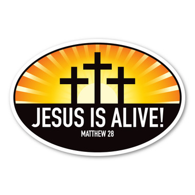 Celebrate Easter with this oval decal! Jesus is alive!