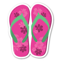 Pink and Green Flip Flop Magnet