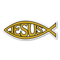 Gold Jesus Fish Mini Magnet