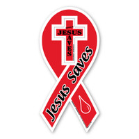 Jesus Saves 2-in-1 Red Ribbon Magnet