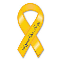 "While the history of the Yellow Ribbon as a sign of military support begins with the poem ""She Wore a Yellow Ribbon,"" it began gaining popularity in the United states in 1979 with the Iran Hostage Crisis. It's popularity returned during the Gulf War along with the phrase ""Support Our Troops,"" and has continued gaining popularity since 2003, when Magnet America introduced the ""Support Our Troops"" Ribbon Magnets in honor of those serving in Iraq. This ""Support Our Troops"" Yellow Ribbon Decal is another great way to show your support for the men and women who serve in our country's military."