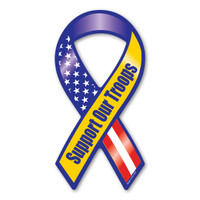 "The phrase ""Support Our Troops"" first began gaining popularity during the Gulf War when it was used, along with the yellow ribbon symbol, as an expression of the desire to bring our troops home safe. It has continued to grow in popularity since 2003 with Magnet America's ""Support Our Troops"" Yellow Ribbon Magnet, which was introduced in honor of those serving in Iraq. This Mini Ribbon Magnet displays the colors of the American Flag as well as the yellow color traditionally used to show support for the troops. This item is another great way to show your support for the men and women serving in our country's military."