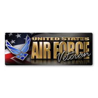 Air Force Veteran Chrome Bumper Strip  Magnet