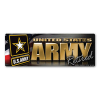 Army Retired Chrome Bumper Strip  Magnet