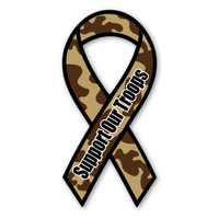 "The phrase ""Support Our Troops"" first began gaining popularity during the Gulf War when it was used, along with the yellow ribbon symbol, as an expression of the desire to bring our troops home safe. It has continued to grow in popularity since 2003 with Magnet America's ""Support Our Troops"" Yellow Ribbon Magnet, which was introduced in honor of those serving in Iraq. This Camouflage Ribbon Magnet is another great way to show your support for the men and women serving in our country's military."