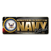 The U. S. Navy was founded in 1775 as the Continental Navy during the Revolutionary War. Today, the men and women of the Navy continue to serve our country and protect our freedom. This Mini Bumper Strip Magnet is a great way for Retired Navy Members to show pride in their service to our country.