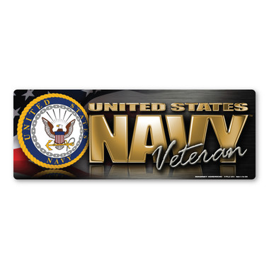 The U. S. Navy was founded in 1775 as the Continental Navy during the Revolutionary War. Today, the men and women of the Navy continue to serve our country and protect our freedom. This Bumper Strip Magnet is a great way for Navy Veterans to show pride in their service to our country.