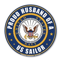 "The U. S. Navy was founded in 1775 as the Continental Navy during the Revolutionary War. Today, the men and women of the Navy continue to serve our country and protect our freedom. This 5"" Circle Magnet is a great way for Navy Husbands to show their pride and support in their wives' service to our country."