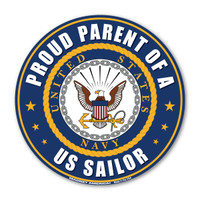 "The U. S. Navy was founded in 1775 as the Continental Navy during the Revolutionary War. Today, the men and women of the Navy continue to serve our country and protect our freedom. This 5"" Circle Magnet is a great way for Navy Parents to show their pride and support in their children's service to our country."