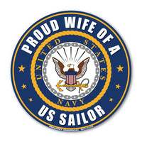 "The U. S. Navy was founded in 1775 as the Continental Navy during the Revolutionary War. Today, the men and women of the Navy continue to serve our country and protect our freedom. This 5"" Circle Magnet is a great way for Navy Wives to show their pride and support for their husbands' service to our country."