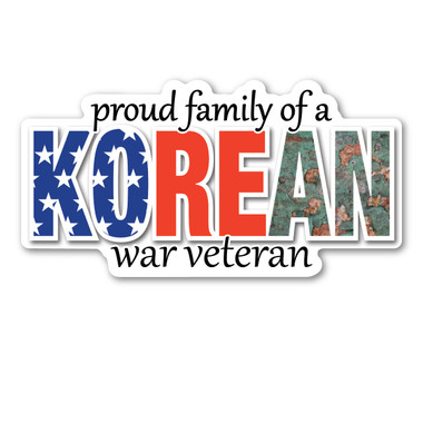 The Korean War was a war in which the United States fought for the South Koreans and their freedom.  It lasted right at 3 years. A peace treaty was never signed, therefore the two Koreas are still divided. However, veterans of the Korean War are very proud of their service.  Our Proud Family of a Korean War Veteran Magnet has an American flag and camouflage lettering. What a wonderful way to show how proud you are to be a part of a family with a Korean War Veteran!