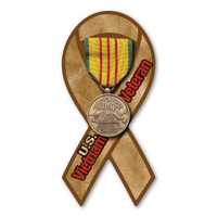 The Vietnam War is to be considered the longest war the United States was involved in.  It lasted right at 20 years.  Our Vietnam War Service Mini Ribbon Magnet features the authentic service medal and ribbon for the Vietnam War. The medal has an oriental dragon behind bamboo trees, with the inscription REPUBLIC OF VIETNAM SERVICE.  The service ribbon has three colors--red, yellow, and green. The red represents the three ancient Vietnamese empires, the yellow represents the imperial color of Vietnam, and the green represents the jungles of Vietnam.  What a wonderful way to show your service as a Vietnam Veteran or in memory of a loved one who served!