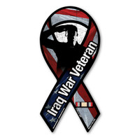 The Iraq War was a war in which the United States fought and toppled the government of Saddam Hussein.  It lasted right at 8 years. Iraq War Veteran Mini Ribbon Magnet has an American flag background with a veteran salute inset. It features the authentic service ribbon for the Iraq War. What a wonderful way to show your pride as a Iraq War Veteran or in memory of a loved one who served!