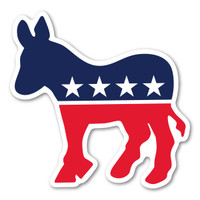 The Democratic Donkey is associated with Andrew Jackson's presidential campaign in 1828.  His opponents called him a jackass (donkey) because he was strong-willed. He found it to be hilarious so he decided to use it on his campaign posters.  He went on to win the election and became America's first Democratic president. In the 1870's, Thomas Nast (political cartoonist) helped the donkey to become the symbol for the Democratic Party. During election season, our custom-shaped Democratic Donkey decal is a great way to show your support for the Democratic party!