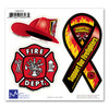Our Firefighters 3-in-1 Adhesive Decal Set with a mini Support Our Firefighters mini ribbon, Maltese symbol, and Fireman's hat are three symbols of Firefighters. Firefighters give their lives each day to save others from devastation and destruction.  These decals are great for indoor or outdoor application.  Enjoy!