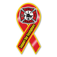 Support Our Firefighters ribbon magnet is a great way to show your support the brave men and women who risk their lives everyday against fire and devastation. It also has a maltese design placed in the middle of the ribbon. Firefighters are hard workers, dedicating themselves to be able to do their job effectively by saving lives.   Bravery, loyalty and honor describes firefighters.  These ribbons are also a great fundraiser items for Firefighter support groups.