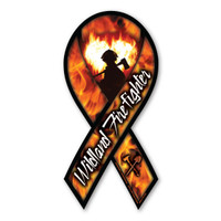 Wildland firefighters combat wildfires and prevent future fires from starting!  Support those who risk their lives every day to protect us from forest fires and devastation. In the middle of this ribbon magnet is a silhouette of a firefighter with flames in the shape of a heart to symbolize the courage that is exhibited daily by our brave firemen and women. Great design for fundraisers and support events.