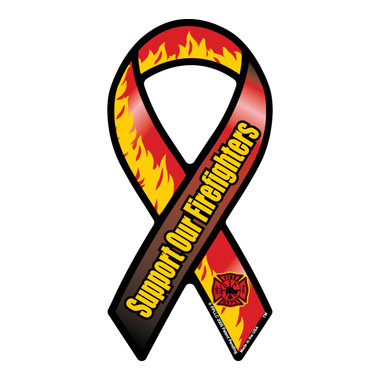Support Our Firefighters mini ribbon magnet is a great way to show your support the brave men and women who risk their lives everyday.  Firefighters are hard workers, dedicating themselves to be able to do their job effectively by saving lives.   Bravery, loyalty and honor describes firefighters.  These mini ribbons are also a great fundraiser items for Firefighter support groups.