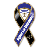 Show the men and women who risk their lives everyday to keep us safe by supporting them with our Law Enforcement black and blue ribbon. Blue lives matter!