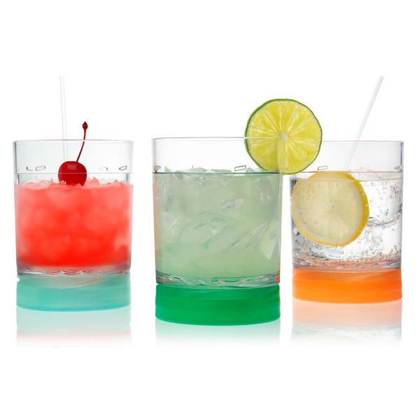 3 Drinique Classic Tumbler 12 Ounce with Lids on Base for Coasters