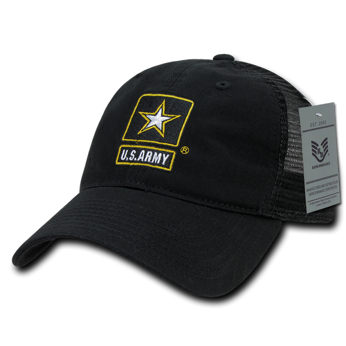 S79 - Military Hat - U.S. Army Star Cap - Relaxed Trucker Mesh - Black 2e7ef57c47e8