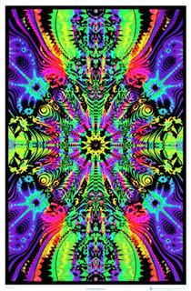 Wormhole Retro Trippy Blacklight Poster 23x35