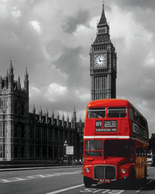 London Red Bus Poster - 16x20